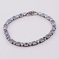 "6.75"", Vintage Sterling 925 Silver Handmade Tennis Bracelet W/ Marcasite N Cz"