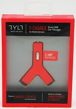 NEW Tylt Y-CHARGE 2.1 Dual 2-USB Car Charger RED Phone DC iPhone 6+/5s/5/iPad/4