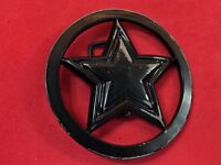 Famous stars and straps Rockstar Star in Circle Silver Tone Belt Buckle