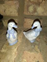 Set Of Two Blue And White Porcelain Geese