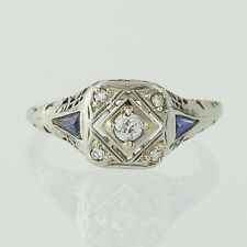 Art Deco Diamond & Syn. Sapphire Ring - 14k Gold Engagement Mine Cut .16ctw