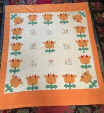 Dated 1930's Tulips And Embroidery Quilt Summer Garden