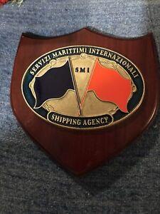 Rare Servizi Marittimi Internazionali Shipping Agency Brass Plaque Maritime Sign