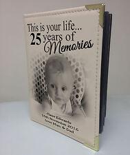 """Personalised 7x5"""" x 36 Foto Album, Libro di memoria, regalo di compleanno 25th"""
