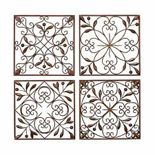 Metal Wall Art Plaque Set of 4 French Leaf Scroll Work Brown Home Decor Garden