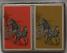 Vintage Russell Gladstone ZEBRA Playing Cards Double Deck  Orange Gold Used