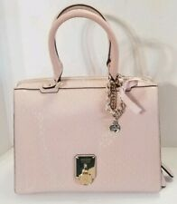 Guess Light Pink Satchel Handbag Purse full zipper opening, chain gold hardware