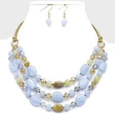 Triple Strand Marble Pebble Multi Blue Glass and Lucite Bead Necklace earring