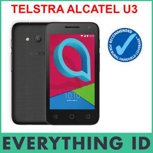 """TELSTRA ALCATEL U3 BLACK 3G 8GB 4"""" SCREEN CHEAP VALUE BLUE TICK MOBILE PHONE"""