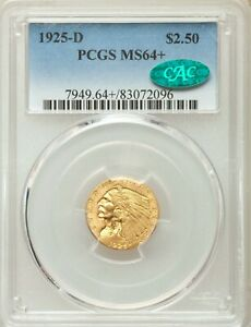1925-D PCGS CAC MS64+ Plus Indian Gold Quarter Eagle Green Bean Gem BU TypeCoin