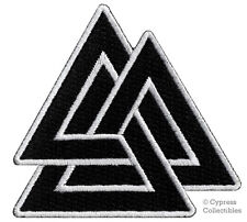 VALKNUT TRIANGLE PATCH iron-on embroidered NORSE VIKING ODIN PAGAN SYMBOL BLACK