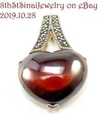 Heart Sterling Silver 925 Pendant Estate Sx Reddish/Brown Amber & Marcasite