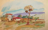 Antique fauvist gouache painting landscape