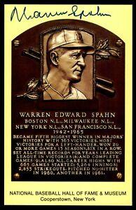 Warren Spahn Hall of Fame Plaque Postcard Autograph -Boulder Collection-