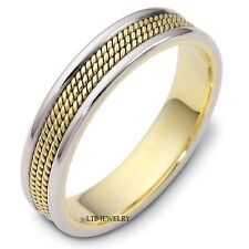 MENS BRAIDED 18K TWO TONE GOLD WEDDING BAND RING WHITE & YELLOW GOLD SHINY 5MM