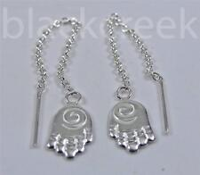 925 Sterling Silver~  Earrings Threaders~ Hamsa hands~