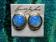 Kenneth Jay Lane Hammered Satin Gold Blue Opal Button Clip Earrings