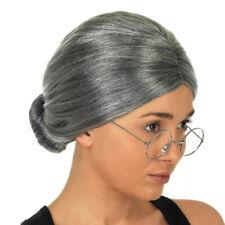 ADULT GRANDMA GRANNY OLD LADY BUN WHITE LACEY WIG COSTUME ACCESSORY LW137WT