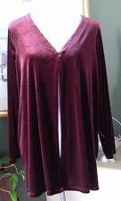 Soft by Avenue Wine Red Velvet V-Neck Tunic or Jacket 18/20