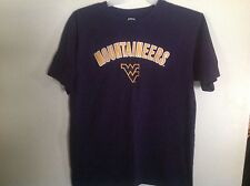 Mens  SZ L WV Mountaineer Tee Navy w Gold Monogrammed Letters trimmed in white