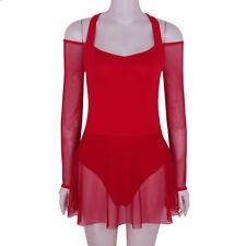 Sexy Women Off the Shoulder Long Sleeves Leotard 1 Layer Mesh Skirt Dance Dress