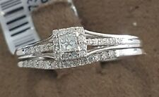 10K White Gold Petite Diamond Wedding Engagement Ring Princess Bridal Round