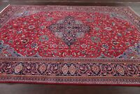 Excellent Floral Red/Blue Sarouk Area Rug Hand-made Medallion Living Room 8x11