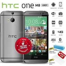 """New Unlocked HTC ONE M8 Grey 5"""" FHD Quad Core 16GB 4G LTE Android Mobile Phone"""