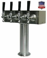 Stainless Steel  Draft Beer Tower Made in USA - 4 Faucets Air Cooled -TT4CR-