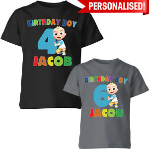 Personalised Birthday Boy Kids T Shirt Cocomelon Party Childrens Funny Tee