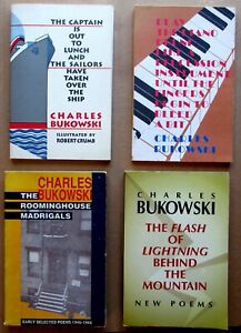 Lot of 4 CHARLES BUKOWSKI SOFTCOVER BOOKS Good condition ROOMINGHOUSE MADRIGALS