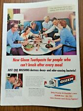 1956 Gleem Toothpaste Ad  For People lwho Can't Brush After Every Meal