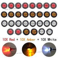 """10X Red 10X Amber 10X White12V 3/4"""" Round Side LED Bullet Marker Trailer Light"""