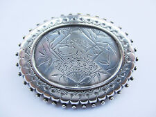 Antique Victorian Large Sterling SIlver Oval Brooch with engraved bird and fan