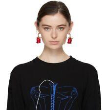 Stunning Major Designer Style Red Lucite Rose Runway Earrings