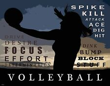 Sand Women's Volleyball Motivational Poster Art Print Girl's Shoes Shorts MVP451