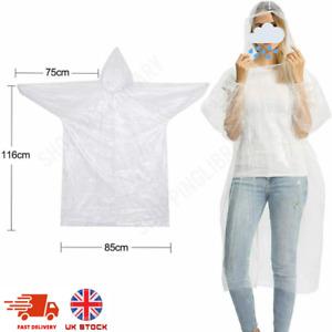 Adult Raincoat Transparent Waterproof Plastic Reusable Rain Poncho Hood Unisex