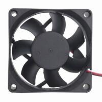 2Pcs DC Cooling Fan 70mm 12V 2Pin 70x70x25mm Brushless Silent Heatsink cooler