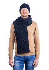 Wool Knit Scarf SAOL Traditional Aran Cable Knit Merino Wool Scarf Soft Blue