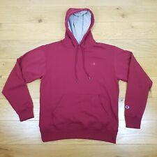 CHAMPION C Logo Pullover Hoodie M Dark Red Cotton Poly Handwarmer Pocket Casual