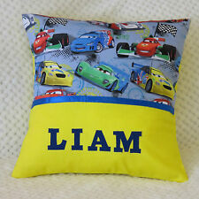 CARS Child's / Boys / Girls Personalised Name Cushion Cover / KINDY PILLOW