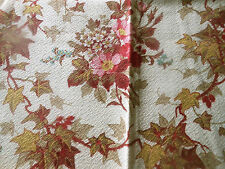 Antique French Ivy Floral Bouqet Cotton Fabric ~ Olive Gold Raisin Rose Pink