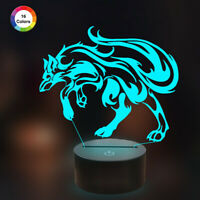 Wolf 3D Illusion Lamp Nightlight with Remote Control,16 Color Desk Lamp for Gift