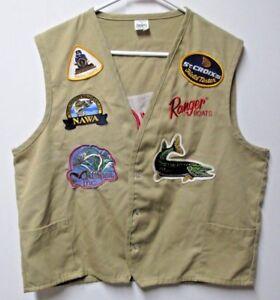 Ranger Boats Fishing Vest Flippin Arkansas Khaki XXL Embroidered Patches USA