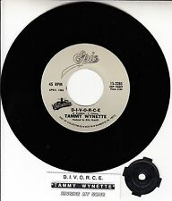 "TAMMY WYNETTE  D.I.V.O.R.C.E. & Singing My Song 7"" 45 record NEW + jukebox strip"