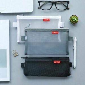 Transparent Clear Student Pen Pencil Case Zip Mesh Portable Pouch Bag Storage *1