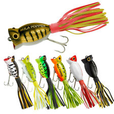 6x Topwater Popper Bass Fishing Lures Freshwater Baits Slow Swim Pike Trout