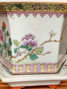 Vintage 1970s oriental handmade Chinese famille rose ceramic flower bird jinger jar with lid table kitchen decor collectible VP42