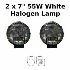 "2 x 7"" Chrome Car Van Round Driving Halogen Spot Lamps Lights Grills 4x4 - 826"