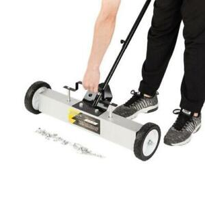 24Inches Heavy Duty Magnetic Sweeper with Wheels, Rolling Magnetic Floor Sweeper